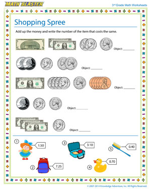 Shopping Spree - Printable Math Worksheet for Kids