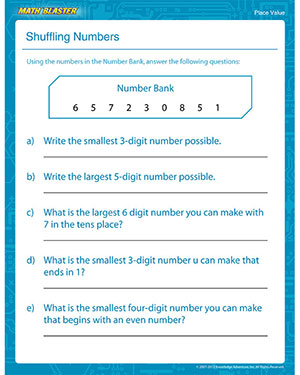 math worksheet : shuffling numbers  free place value worksheet for kids  math blaster : 4th Grade Math Place Value Worksheets
