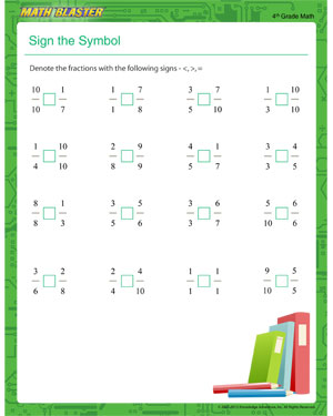 math worksheet : sign the symbol  printable fraction worksheet for 4th grade  : Math Practice Worksheets For 4th Grade