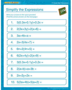 math worksheet : simplify the expressions  free middle school math worksheets  : Free Math Worksheets For 7th Grade