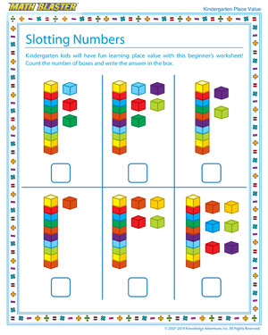 Slotting Numbers - Place value worksheet for kids