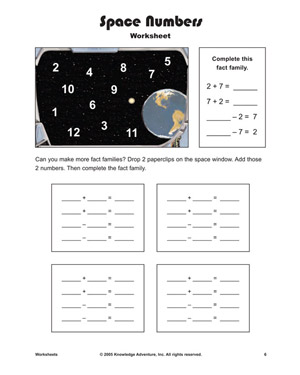Space Numbers - Printable Math Worksheet for Kids