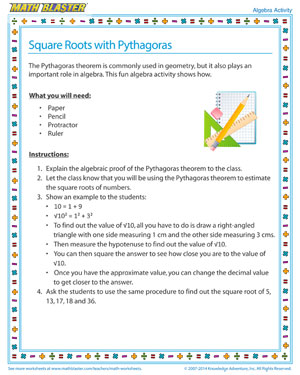 Square Roots with Pythagoras - Printable Algebra Activity for Kids
