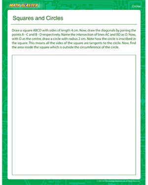 Squares and Circles - Printable Circle Worksheet for 5th Graders