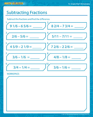 Subtracting Fractions Worksheets for 7th Grade