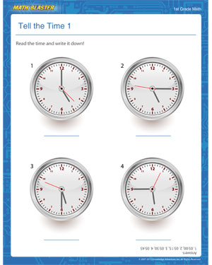 Tell the Time 1 - Printable Time Worksheet for Elementary