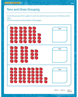Tens and Ones Grouping - Printable Place Value Worksheet for 1st Graders