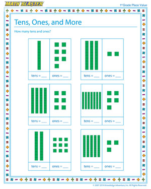 Tens, Ones, and More! - Place value worksheet for kids