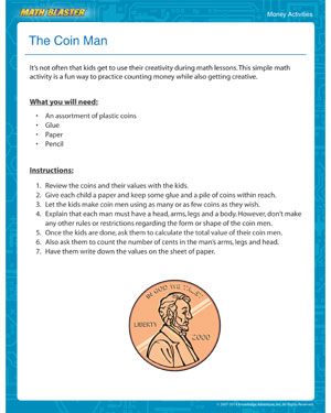 The Coin Man - Printable Money Activity for Young Kids