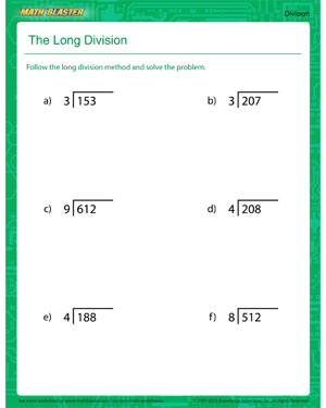 The Long Division – Printable Division Worksheet for Kids – Math ...