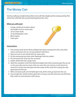 The Money Can - Check out this Printable Money Activity for Kids