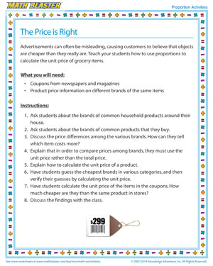 The Price is Right - Printable Proportions Activity for Kids