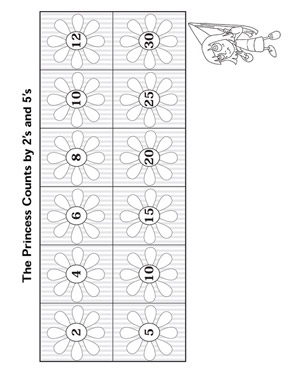 The Princess Counts by 2's and 5's - Free Multiplication Worksheet for Elementary