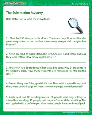 math worksheet : the subtraction mystery  fun grade 1 math worksheets  mathblaster : Math Mystery Picture Worksheets