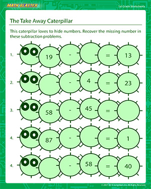 The Take Away Caterpillar - Printable Math Worksheet for Kids