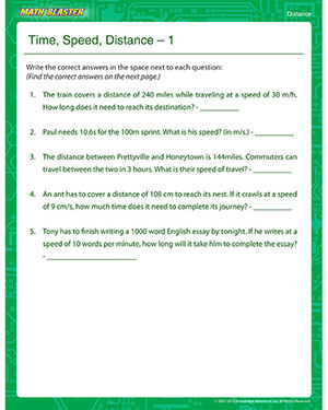 Time, Speed, Distance 2 - Printable Math Worksheet for Kids