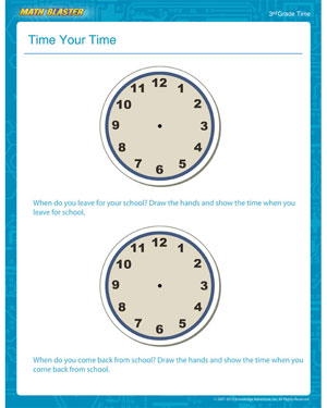 Time Your Time - Free Time Worksheet for 3rd Grade