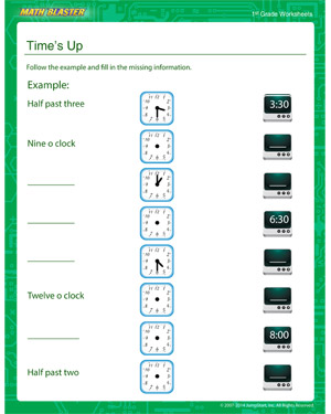 Time's Up - Printable Math Worksheet for Kids