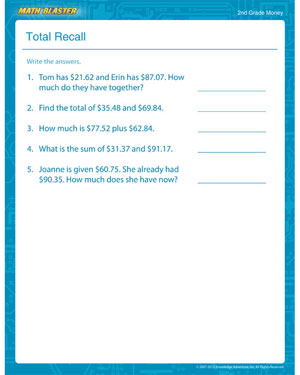 Total Recall - Free Money Worksheet for 2nd Grade