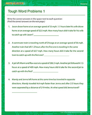 Tough Word Problems 1 – Free Online Distance Worksheet – Math Blaster