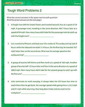 Tough Word Problems 2 – Free Online Distance Worksheet – Math Blaster