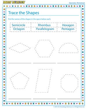 Trace the Shapes – Geometry Worksheets Free Printable – Math Blaster
