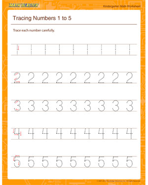 Tracing Numbers 1 to 5 - Printable Math Worksheet for Kindergarten