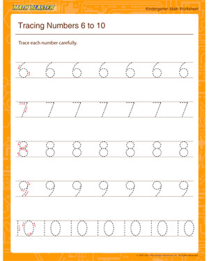 Tracing Numbers 6 to 10 - Printable Math Worksheet for Kindergarten