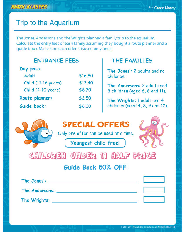 Trip to the Aquarium - Free Money Worksheet for 5th Grade
