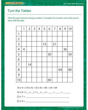 Turn the Tables - Printable Math Worksheet for Sixth Grade