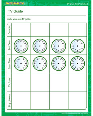 TV Guide - Printable Time Worksheet for Kids
