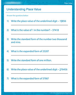 math worksheet : understanding place value  free place value worksheets for 4th  : Printable Fourth Grade Math Worksheets