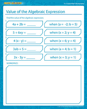 Value of Algebraic Expression Worksheets for 7th Grade