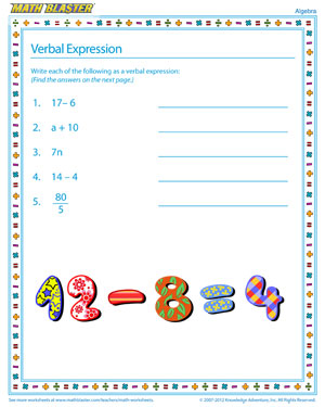 Verbal Expression - Printable Algebra Worksheet for Kids