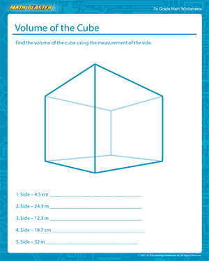 Volume of a Cube | Fun Math Worksheets for Grade 7 | Math Blaster
