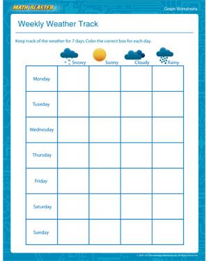 Weekly Weather Track - Printable Graph Worksheet for Kids