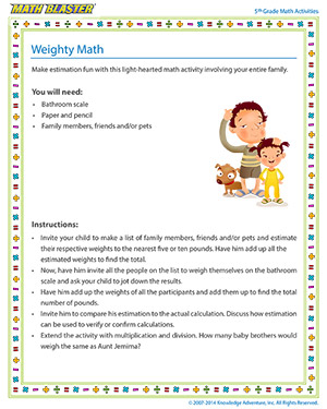 Weighty Math - Printable Online 5th Grade Estimation Activity for Kids