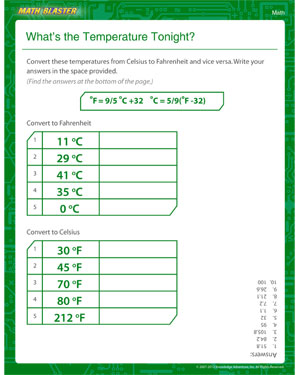 Temperature Conversion Formulas | Worksheet | Education.com