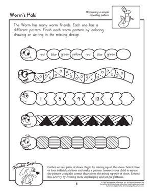 math worksheet : worm s pals  fun math worksheet on patterns for 1st graders  : First Grade Math Practice Worksheets